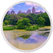 Central Park And Lake, Manhattan Ny Round Beach Towel