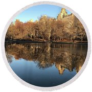 Round Beach Towel featuring the photograph Central Park City Reflections by Madeline Ellis