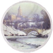 Central Park Round Beach Towel by Colin Campbell Cooper