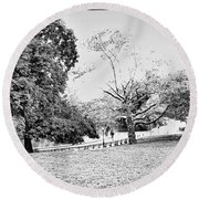 Round Beach Towel featuring the photograph Central Park In Black And White by Madeline Ellis