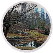 Central Park In January Round Beach Towel