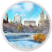 Central Park In Winter Round Beach Towel