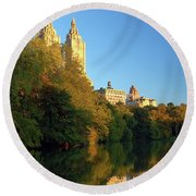Round Beach Towel featuring the photograph Central Park Refelctions by James Kirkikis