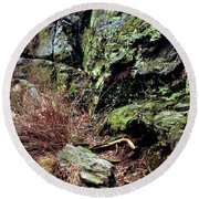 Round Beach Towel featuring the photograph Central Park Rock Formation by Sandy Moulder