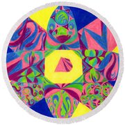 Round Beach Towel featuring the drawing Centrifugal by Kim Sy Ok
