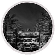 Round Beach Towel featuring the photograph Centro Ybor Bw by Marvin Spates