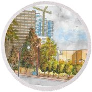 Century Park East And Santa Monica Blvd. In Century City, California Round Beach Towel by Carlos G Groppa