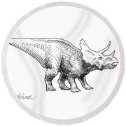 Cera The Triceratops - Dinosaur Ink Drawing Round Beach Towel