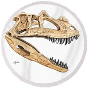 Ceratosaur Skull Round Beach Towel
