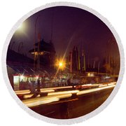 Round Beach Towel featuring the photograph Ceremonious Crossings by T Brian Jones