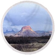 Round Beach Towel featuring the painting Cerro Castellan And Mule Ears  by Dennis Ciscel