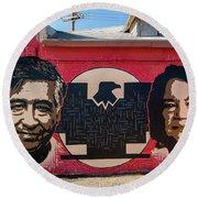 Cesar Chavez And Dolores Huerta Mural - Utah Round Beach Towel