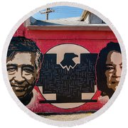 Cesar Chavez And Dolores Huerta Mural - Utah Round Beach Towel by Gary Whitton