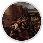 Cesari Giuseppe St Clare With The Scene Of The Siege Of Assisi Round Beach Towel by Giuseppe Cesari