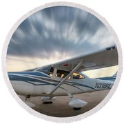 Cessna 182 On The Ramp Round Beach Towel