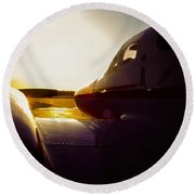 Cessna 421c Golden Eagle IIi Silhouette Round Beach Towel by Greg Reed