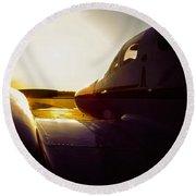Cessna 421c Golden Eagle IIi Silhouette Round Beach Towel