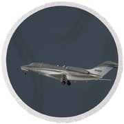 Round Beach Towel featuring the photograph Cessna 750 N610cg by Guy Whiteley