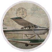 Cessna Skywagon 185 On Vintage Postcard Round Beach Towel