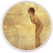 Chabas, September Morn Round Beach Towel