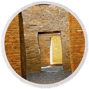 Chaco Canyon Doorways Round Beach Towel