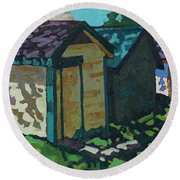 Chaffey Boat Houses Round Beach Towel