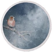 Chaffinch On A Cold Winter Day Round Beach Towel