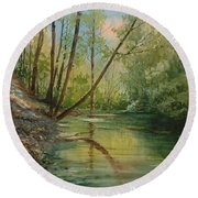Chagrin River In Spring Round Beach Towel