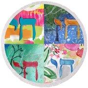 Chai Collage- Contemporary Jewish Art By Linda Woods Round Beach Towel