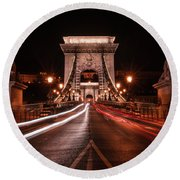 Round Beach Towel featuring the photograph Chain Bridge At Midnight by Jaroslaw Blaminsky