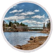 Chain Bridge On The Merrimack Round Beach Towel