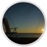 Round Beach Towel featuring the photograph Chair By The Setting Sun by Kennerth and Birgitta Kullman