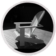 Chair In Black And White Round Beach Towel