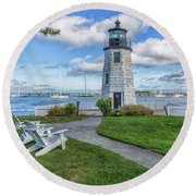 Chairs At Newport Harbor Lighthouse Round Beach Towel