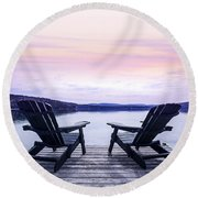 Chairs On Lake Dock Round Beach Towel