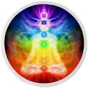 Chakras And Energy Flow On Human Body Round Beach Towel