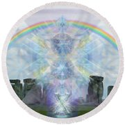 Chalice Over Stonehenge In Flower Of Life Round Beach Towel