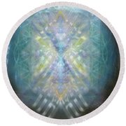 Round Beach Towel featuring the digital art Chalice-tree Spirit In The Forest V1 by Christopher Pringer