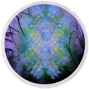 Round Beach Towel featuring the digital art Chalice-tree Spirit In The Forest V1a by Christopher Pringer