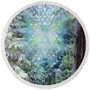 Round Beach Towel featuring the digital art Chalice-tree Spirit In The Forest V3 by Christopher Pringer