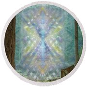 Round Beach Towel featuring the digital art Chalice-tree Spirt In The Forest V2 by Christopher Pringer