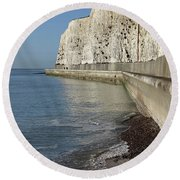 Chalk Cliffs At Peacehaven East Sussex England Uk Round Beach Towel
