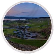 Chambers Bay Sunset Review Round Beach Towel