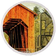 Chambers Railroad Bridge Round Beach Towel