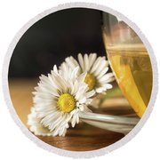 Round Beach Towel featuring the photograph Chamomile by Traven Milovich