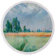 Champ De Ble Round Beach Towel by Claude Monet