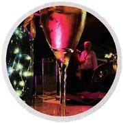 Champagne And Jazz Round Beach Towel by Lori Seaman