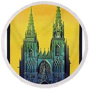 Champagne, Reims, Cathedral, France Round Beach Towel