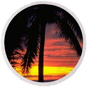 Champagne Sunset Round Beach Towel