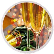 Champagne Wishes Round Beach Towel